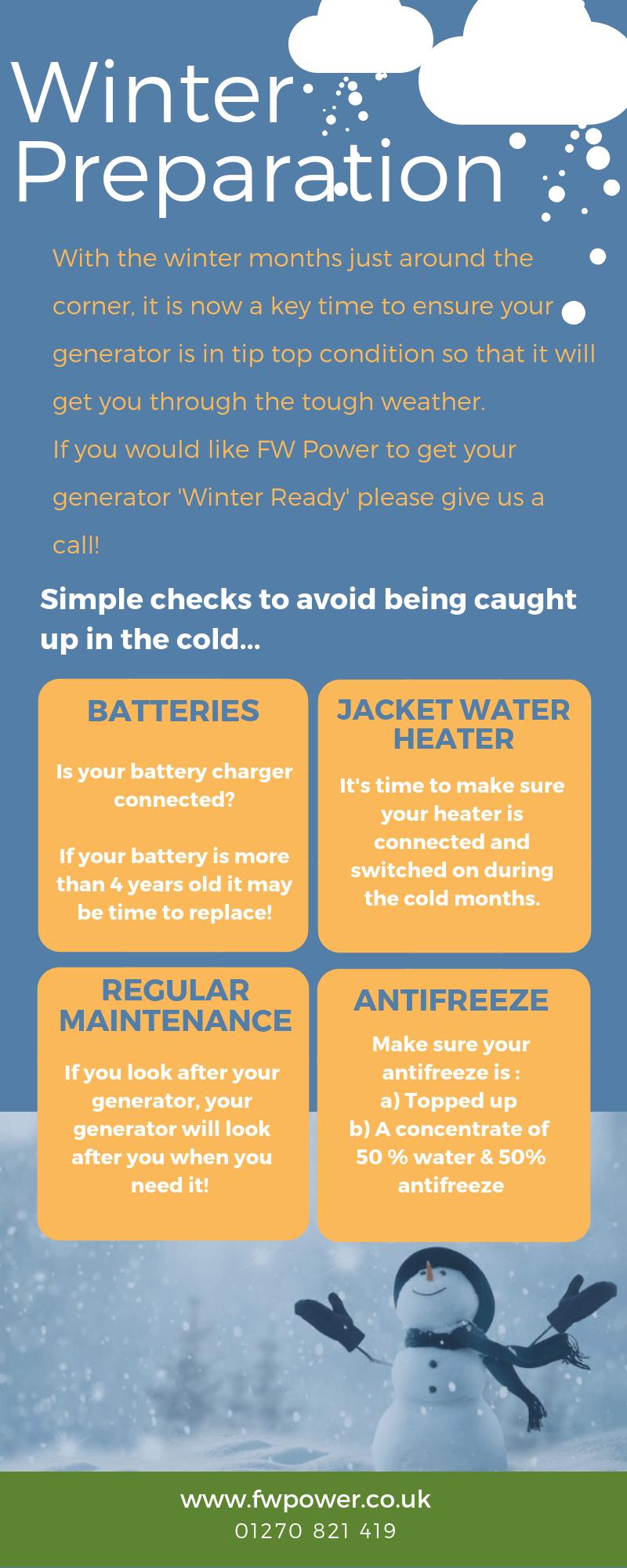 FW Power winter preparation advise for your diesel generator