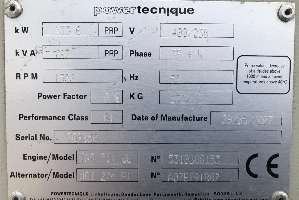 167 kVA Volvo Used Silent Diesel Generator